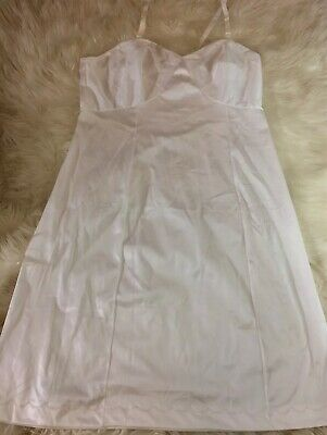 Vintage Sears White Lace Size 40 Silky Full Slip 100% Nylon Made In USA