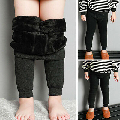 Kids Toddler Boy Thick Warm Pants Elastic Fleece Leggings Slim Fit Tight Trouser