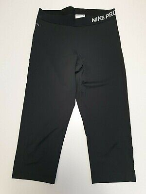M929 Womans Nike Pro Dri-Fit Black Stretch 3/4 Sport Aerobic Leggings Uk L 14