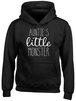 Auntie's Little Monster Boys Girls Childrens Kids Hooded Top Hoodie