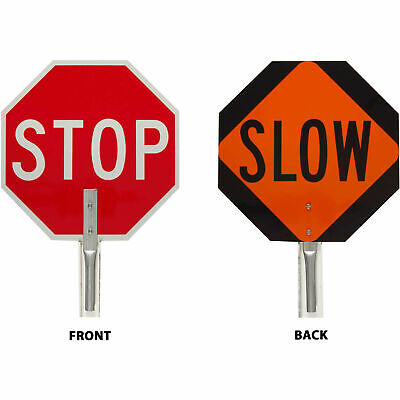 "Traffic Control Paddle, 2 Sided, Stop/Slow Sign, Aluminum, 18""W x 18""H"