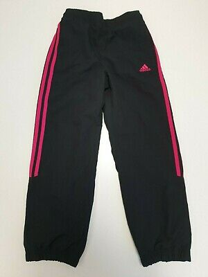 M938 Girls Adidas Black Pink Stripe Active Tracksuit Bottoms Uk 7-8 Yrs