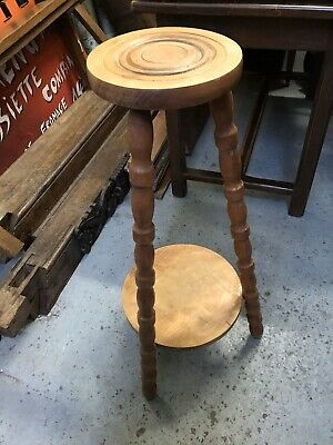French Vintage Rustic Pine Tall  Stool