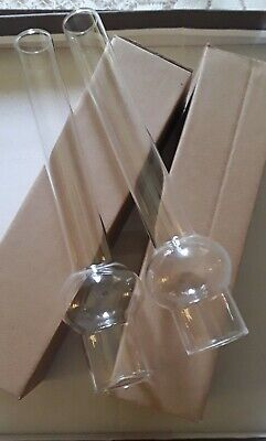"X2  Round Bulge OIL LAMP CHIMNEY Glass 10/"" 1//4 Height x 1/""57-40 mm Base NEW"