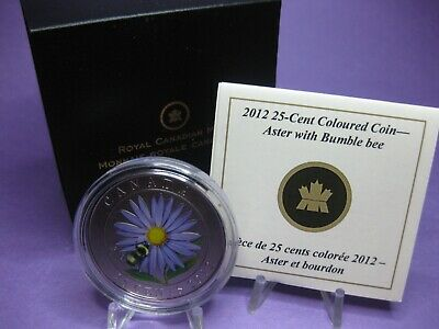 2012 25-cent Coloured Coin - Aster with Bumble Bee
