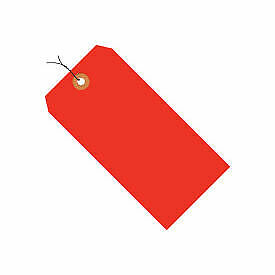 """#5 Red Fluorescent Wired Tag Pack 4-3/4"""" x 2-3/8"""" - 1000 Pack G12053C  - 1 Each"""