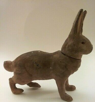 Antique Paper Mache Bunny Rabbit Candy Container, Flocked,Germany, Pull Toy?