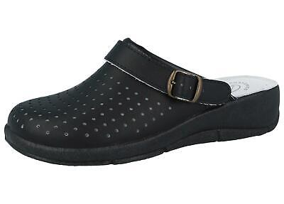 Ladies Max Relax Womens Nurse Hospital Kitchen Leather Wedge Clogs Mules Slipper