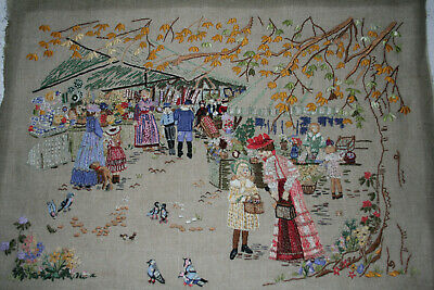 Exquisite Hand Embroidered Picture Families At A Victorian Market.