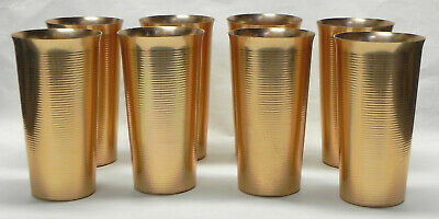 "8 West Bend Aluminum Tumblers, 5 3/8"" Copper, Ringed, 12 oz. Drink Glasses, VG"