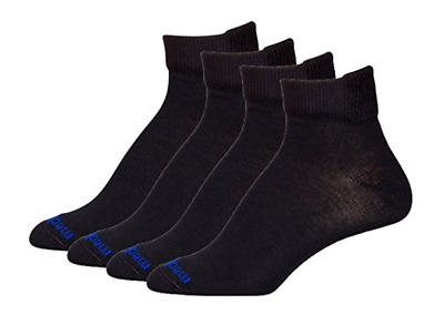 MediPeds Black Flex Panel Coolmax Diabetic Quarter Socks - 4 Pair