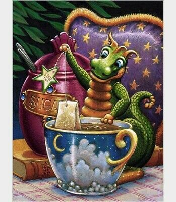 5D Diamond Painting All Crystal DIY Cartoon Coffee Loong children Practice gift