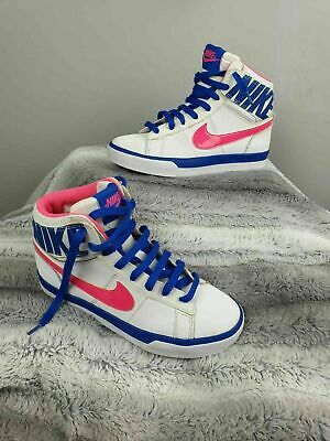 Nike Match Supreme White Pink Blue Girls Hi Top Trainers UK Size 3 ( EUR 3.5 )