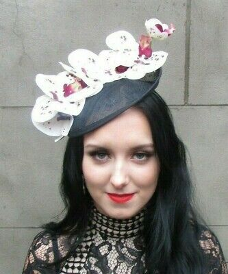 Black White Burgundy Wine Red Orchid Flower Saucer Disc Hat Fascinator Hair 8068
