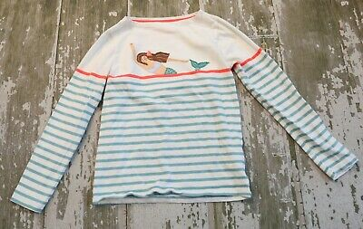 MINI BODEN Long sleeve Striped Mermaid Applique Knit TOP shirt Size 9 10