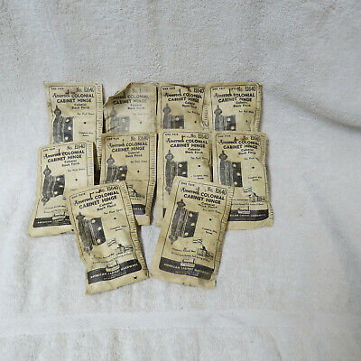 10 PAIR - Vintage AMEROCK - COLONIAL Spade End Cabinet HINGES Black E-1640 - NOS