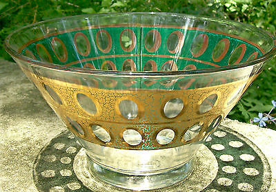 "Vintage Culver ""Piza"" Glass Bowl Green & Gold Crackle 10 5/8""D MCM"