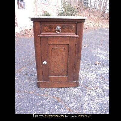 Antique Victorian Renaissance Revival Marble Top Half-Commode Nightstand Walnut