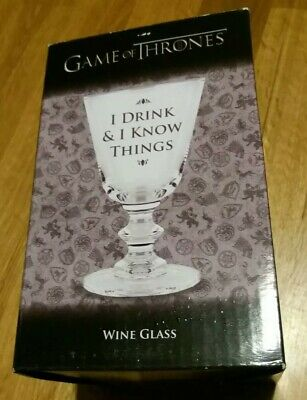 Game Of Thrones Wine Glass - I Drink And I Know things  - Boxed Unused