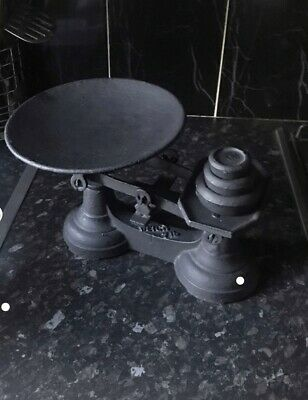 Antique Style Black Cast Iron Weighing Scales with Set of Weights