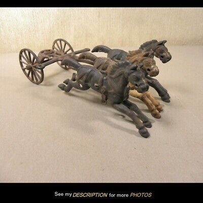 Antique Toy Cast Iron 3 Horse Section for Fire Wagon Arcade Kenton