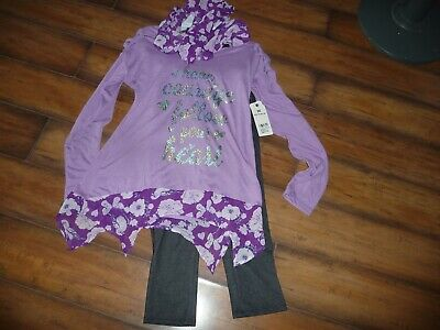 NEW NWT One Step Up girls size 10/12 3 piece outfit with top pants and scarf