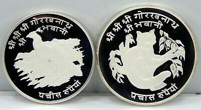 Nepal, Pair of .925 Silver 25 Rupee Pheasant & 500 Rupee Red Panda - Proof !!