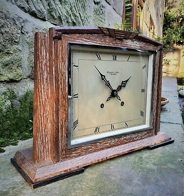A Large Slender 1940 Striking Clock  Croydon & Sons Ipswich - Limed Oak Vgc