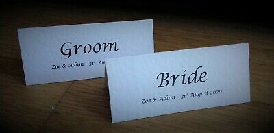 Personalised Wedding Table Place Cards Name Cards - White Ivory