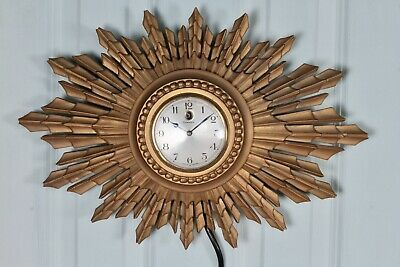 Genalex Wall Mounted Sunburst Electric Clock Mid Century Vintage