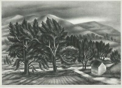 Large original lithograph by Albert Heckman, Wind Blown Trees