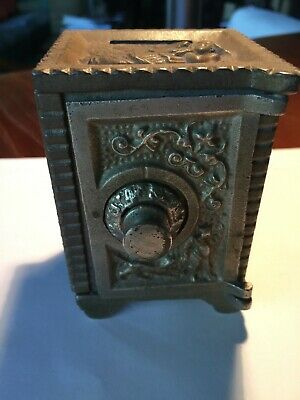 (2) Vintage Small Cast Iron Toy Miniature Combination Safe Coin Banks