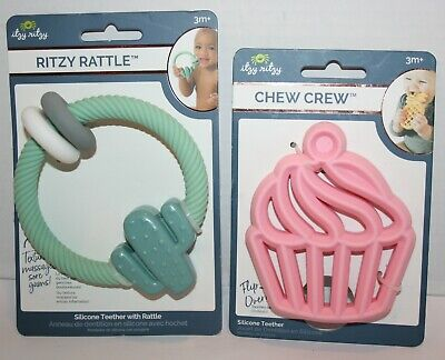 NEW Itzy Ritzy Chew Crew Silicone Cupcake Teether & Cactus Teether w/Rattle