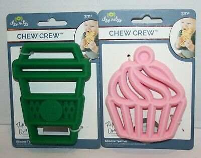 NEW Itzy Ritzy Chew Crew Silicone Cupcake and Latte Teethers