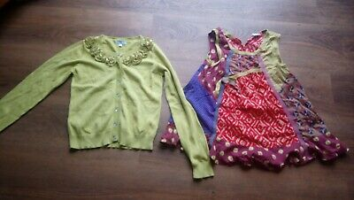 Girls Lime green cardigan and smock top set Age 11 years Excellent Condition