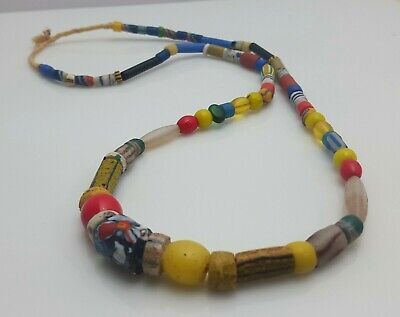 Alte Handels Glasperlen 4mm AN11 Old Striped African Glass Trade Beads Afrozip
