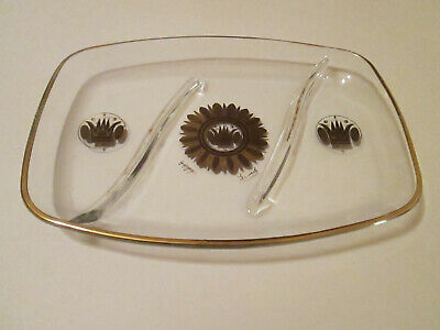 Vintage Georges Briard Glass Divided Tray Regalia Gold Design 1960's Signed