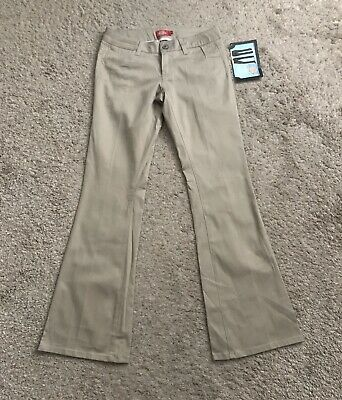 "DICKIES Womens Size 1 Beige Low Rise Boot Cut Work Chino Pants 31"" Inseam NWT"