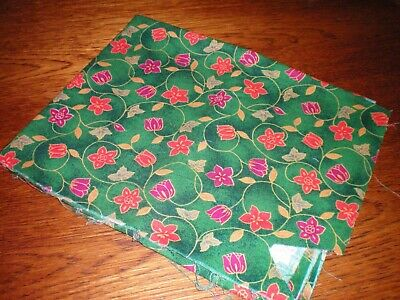 """Green And Red Cotton Fabric For Patchwork Or Crafting 38"""" X 23"""""""