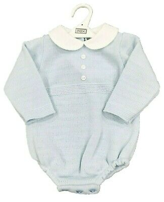 PEX FELIX Baby Boys Baby Grow Romper Cable Knit Knitted Spanish Style Blue