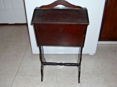 1940's Mahogany Sewing Cabinet / Stand w/ Hinged Two-Part Top