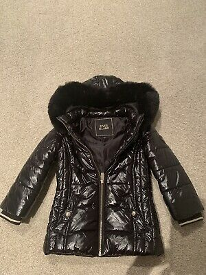 RIVER ISLAND GIRLS BLACK PUFFA JACKET COAT AGE 3-4 Yrs, Barely Worn, Excellent