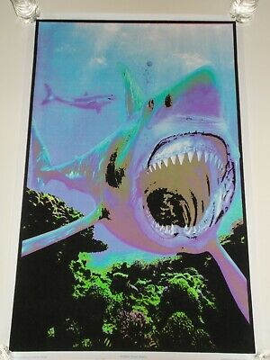 "SHARK ATTACK Black Light Poster Flocked Velvet 2019 Charron Design 23"" x 35"""