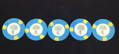 Five $1 Poker Chip from the Golden Nugget Casino in Las Vegas Nevada Small Inlay