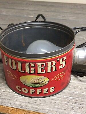 Early Vintage Folgers Coffee Can 1 Pound Light Fixture! Cool Item!