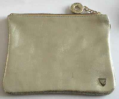 Aspinal of London Small Essential Cosmetic Flat Pouch Gold Nappa.