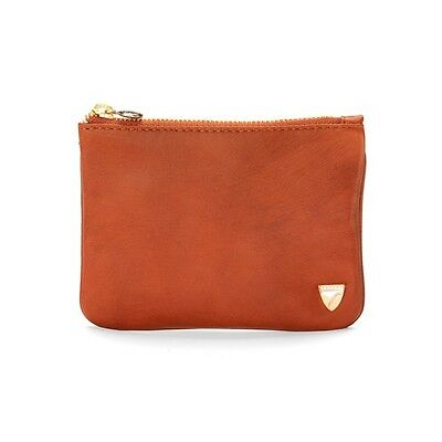 Aspinal of London Flat Cosmetic Pouch. Smooth tan. Embossed Details.