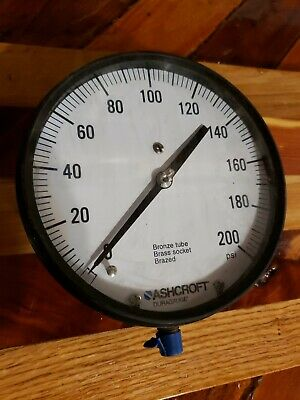 Big Large cool air Gauge Ashcroft Duragauge 0 _200 Psi made usa