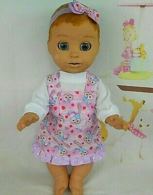 """Dolls clothes for 18"""" LUVABELLA DOLL~BUNNY RABBIT/STRAWBERRY PINAFORE~TOP~H'BOW"""