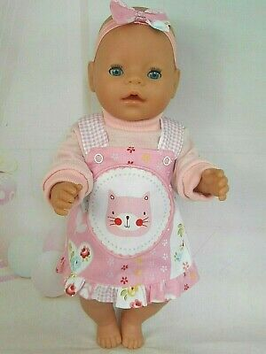"""Dolls clothes for 17"""" Baby Born/CPK Doll~PINK CAT FLORAL PINAFORE~TOP~HAIR BOW"""